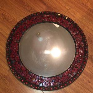 Red mosaic round 19 inch mirror